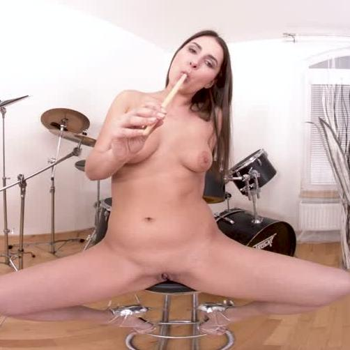 Sexy Brunette Fucks Herself With Drum Sticks!!